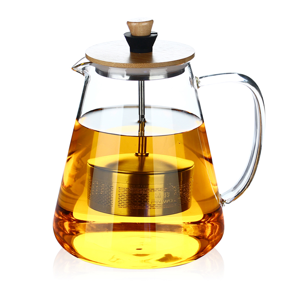 PINDEFANG 2017 Large 1500 / 950ml Borosilicate Glass Teapot with Creative Pull Strainer Bamboo Lid Health Gift teaware Kettle