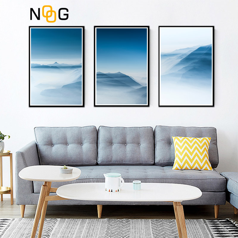 NOOG Nordic Decoration Mountains Lanscape Wall Art Canvas Poster and Print Canvas Painting Decorative Picture for Living Room