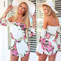 New Arrival Rompers Womens Jumpsuit 2016 Best Deal High Quality Sexy Floral Printed Off-Shoulder Long Sleeved Short Jumpsuits