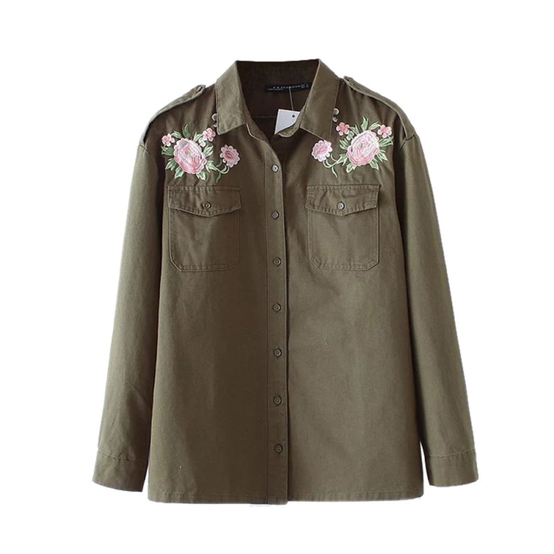 2017 Autumn New Floral Embroidery Women Coat Jackets Casual Female Full Sleeve Turn Down Collor Pockets Jacket Tops