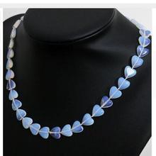 for Women jewelry choker anime gem grade Sri lanka white moonstone opal heart shape beads 12mm fashion women charms necklace цена
