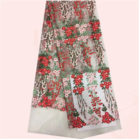 Popular French net lace fabric flower embroidery tulle cloth for sewing dress PNZ236(5yards/lot)