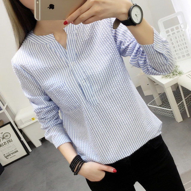 7b3069310ed Women Blouses Shirt Female 2018 New Autumn Cotton Linen casual striped Long  Sleeve Shirt Women Tops Ladies Clothing S-XL blusas