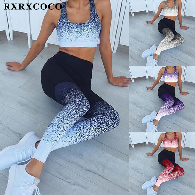 d18174bee6ad5 RXRXCOCO Printed Leggings Sport Women Fitness High Waist Gym Yoga Running  Pants For Women Plus Size Quick-dry Stretch Trousers