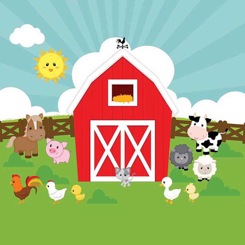 Us 11 21 40 Off Mehofoto Red Barn Farm Photo Background For Pictures Barnyard Kids Cartoon Animal Backdrop For Photography Photo Booth In Background