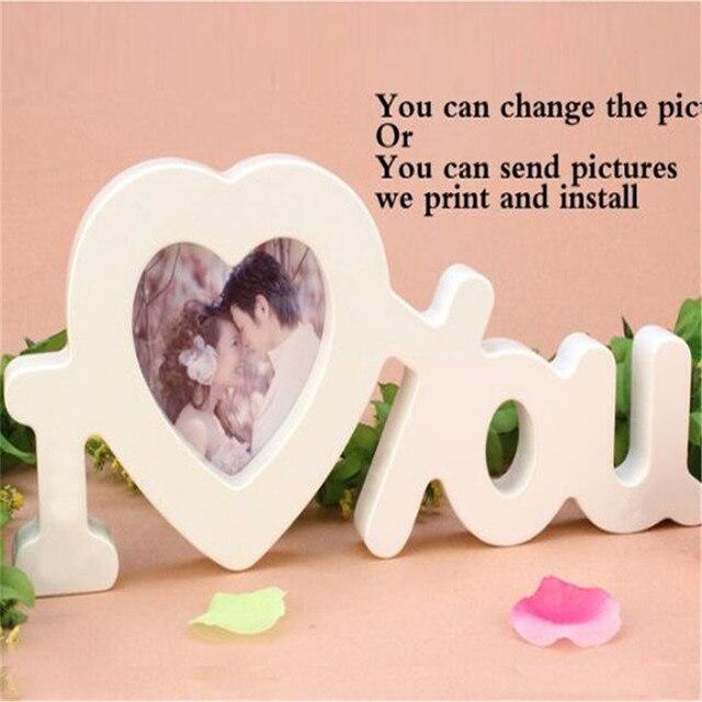 Photo Mur Coeur Forme Cadre Photo Est Imitation Bois Lettre Amour