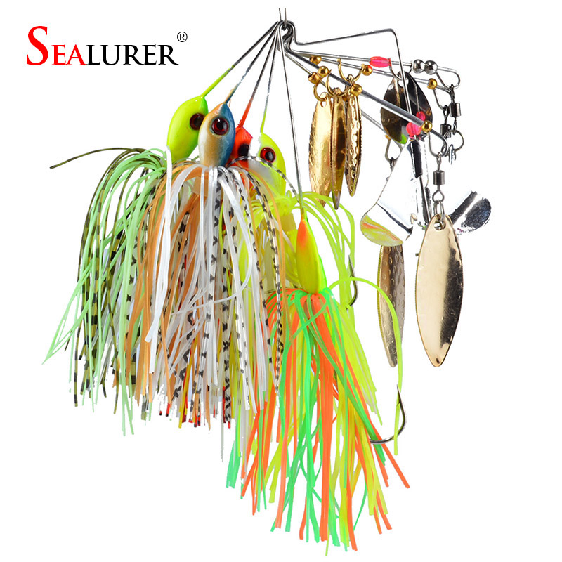 SEALURER Brand Spinner Bait with 2 blades Rubber Jig 5pcs/lot  Fishing Lure Spoon for Lake River Lead Head Pike Lures 3pcs lot 6cm 2 5g fishing lure hook spinner spoon lures rotating metal sequins bait hooks peche jig anzuelos de pesca