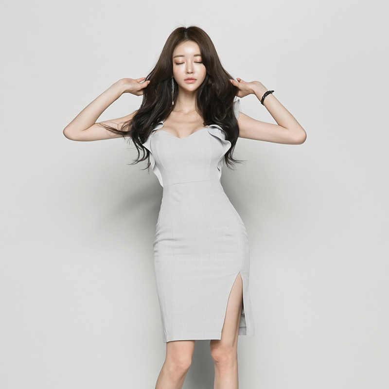 Элегантное платье с оборками и вырезом на бедрах, женское платье на молнии, с разрезом сбоку, средней длины, vestidos, женское вечернее платье 2018, высокое качество