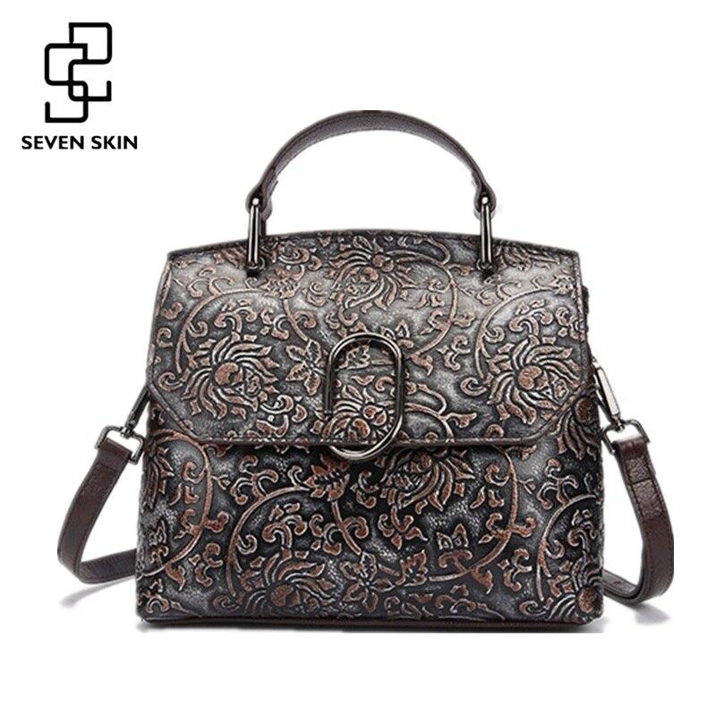 100% Genuine Leather Women Bags Vintage Design Female Embossed Flower Handbag Cl