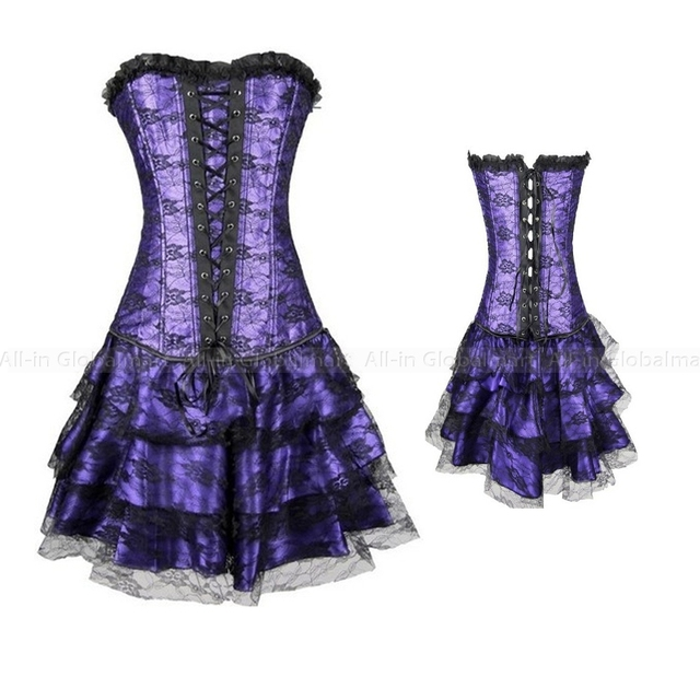 Black Red Purple Corset Dress Overbust Gothic Burlesque Costumes Waist Trainer Corsets And Bustier Party Club Corset Outfit TYQ