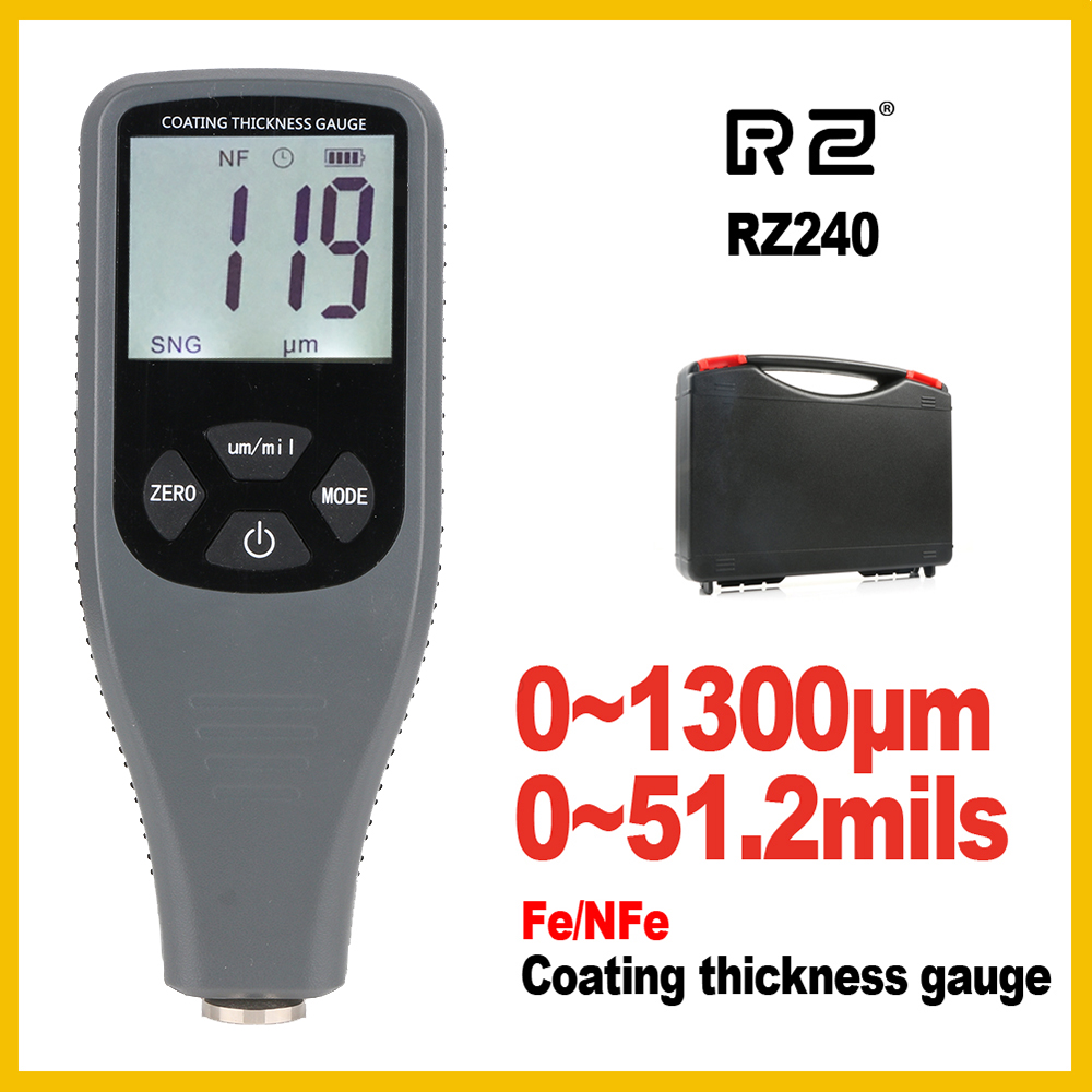 Coating Thickness Gauge Digital Coating Paint Thickness Gauge Meter Tools Ferrous and non-Ferrous 2 in 1 RZ240 non ferrous alloys