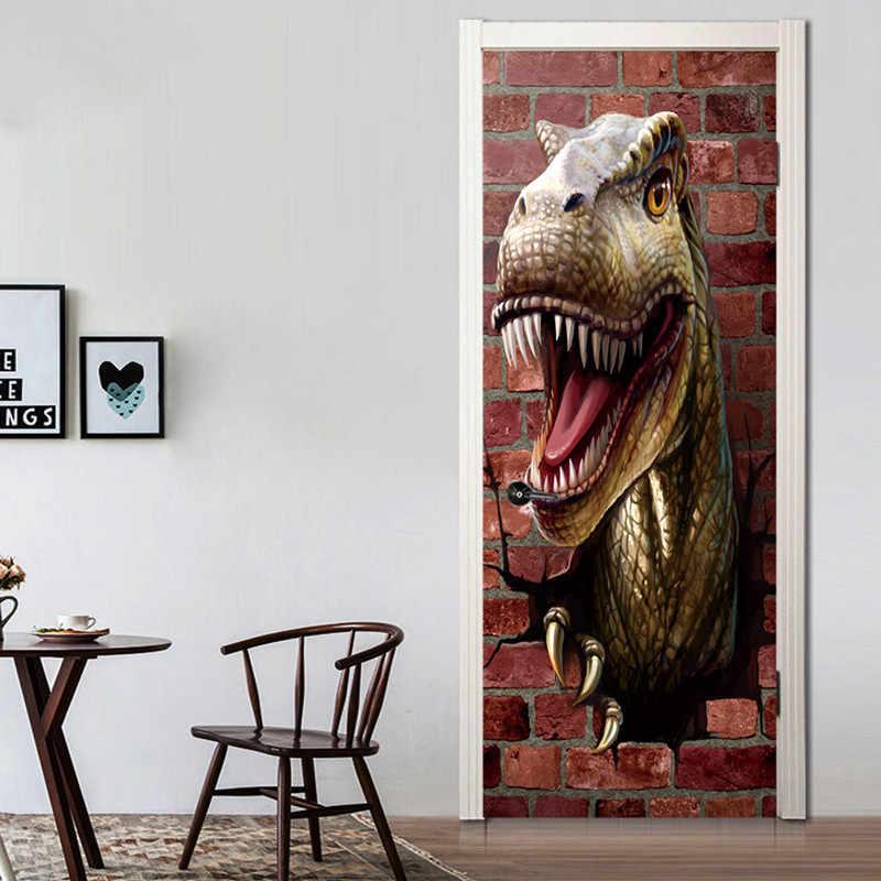 77*200 см 3d Динозавр сломанной стены искусства двери росписи наклейки Юрского периода животных аниме плакат Детская комната украшения водонепроницаемый обои
