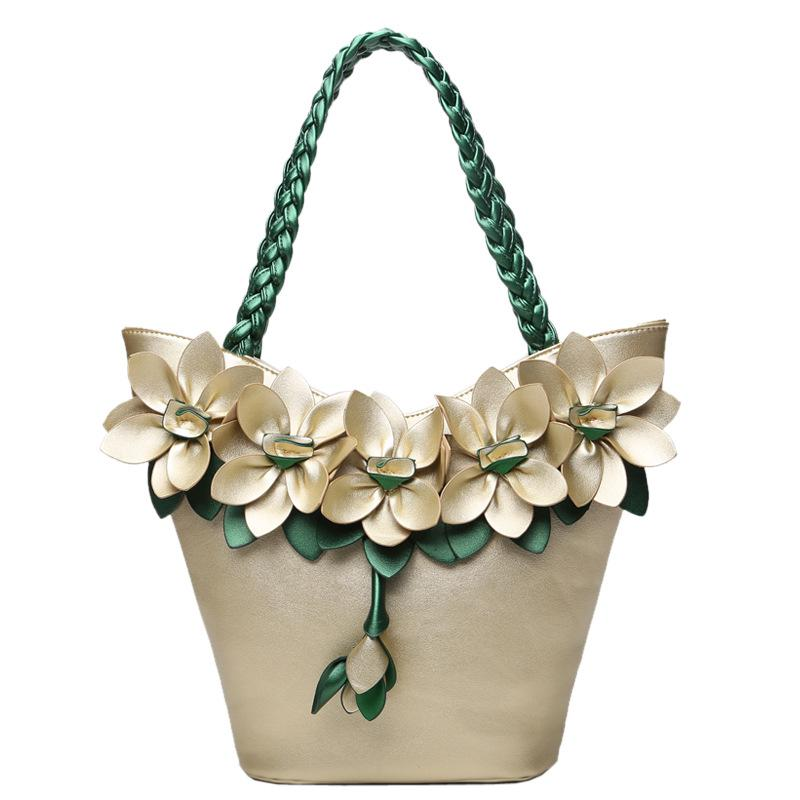 Fashion Summer Flower Handbag With Woven Strap Pu Leather Large Tote Bag For Holiday Lady Floral
