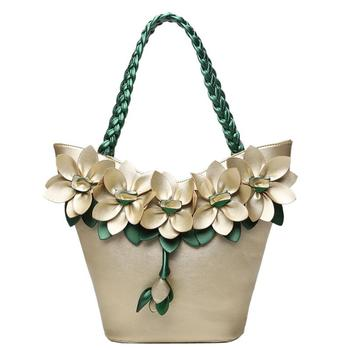Fashion Summer Flower Handbag With Woven Strap Pu Leather Large Tote Bag For Holiday Lady Floral Shoulder Bags Bolsas Feminina