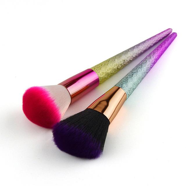 New 1pc Unicorn Diamond Loose Powder Brush Unicorn Brush Super Soft Makeup Brushes Cosmetic Beauty Make Up Brush Box Packed