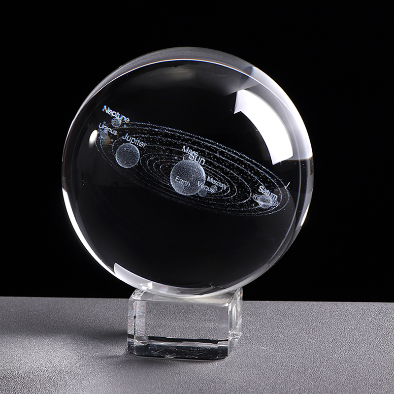 3D Miniature Solar System Model Crystal Ball Laser Engraved Planet Ball Science Educational Toy For Kids Home Office Desk Decor