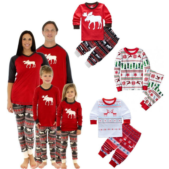 2016 Boys Girls toddler Christmas pajama sets clothing teenage ...