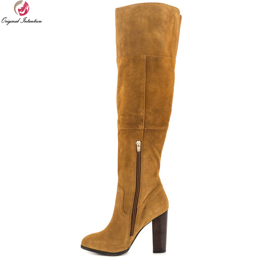 Original Intention Women Over Knee Boots Round Toe Square Heels Boots High-quality Black Yellow Green Shoes Woman US Size 4-13 original intention high quality women knee high boots nice pointed toe thin heels boots popular black shoes woman us size 4 10 5