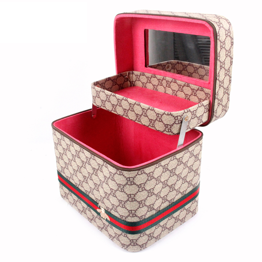 Telescopic Double layer ANGNYA Bee Printed PU Leather Cosmetic Bag Travel Organizer Makeup Box Wash Toiletry