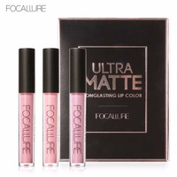 FOCALURE 3Pcs Long Lasting Lip Waterproof Tint Lip Gloss Red Velvet Ultra Nude Matte Lipstick Colourful