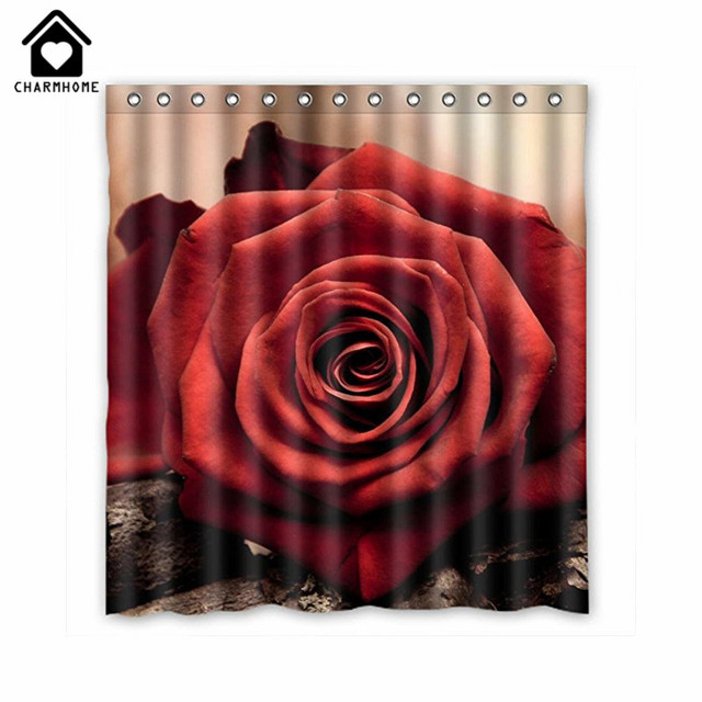 CHARMHOME 2017 Waterproof Polyester Roses Best Home Fashion Custom Fabric Bathroom Curtains Shower Curtain Decor With
