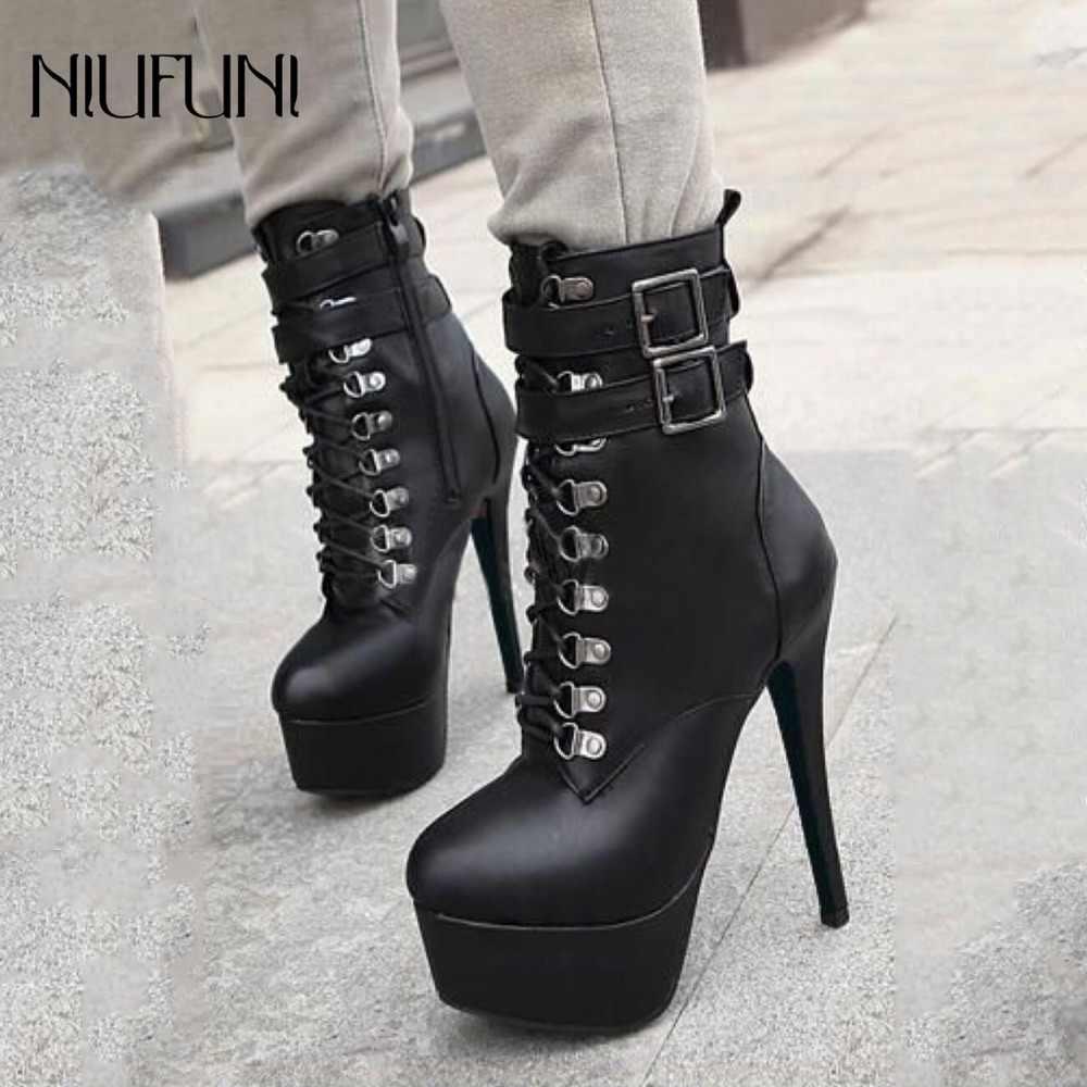 Модные осенне-зимние ботинки ботильоны с круглым носком на молнии сбоку женская обувь на очень высоком каблуке и платформе женские ботинки с ремешком и пряжкой