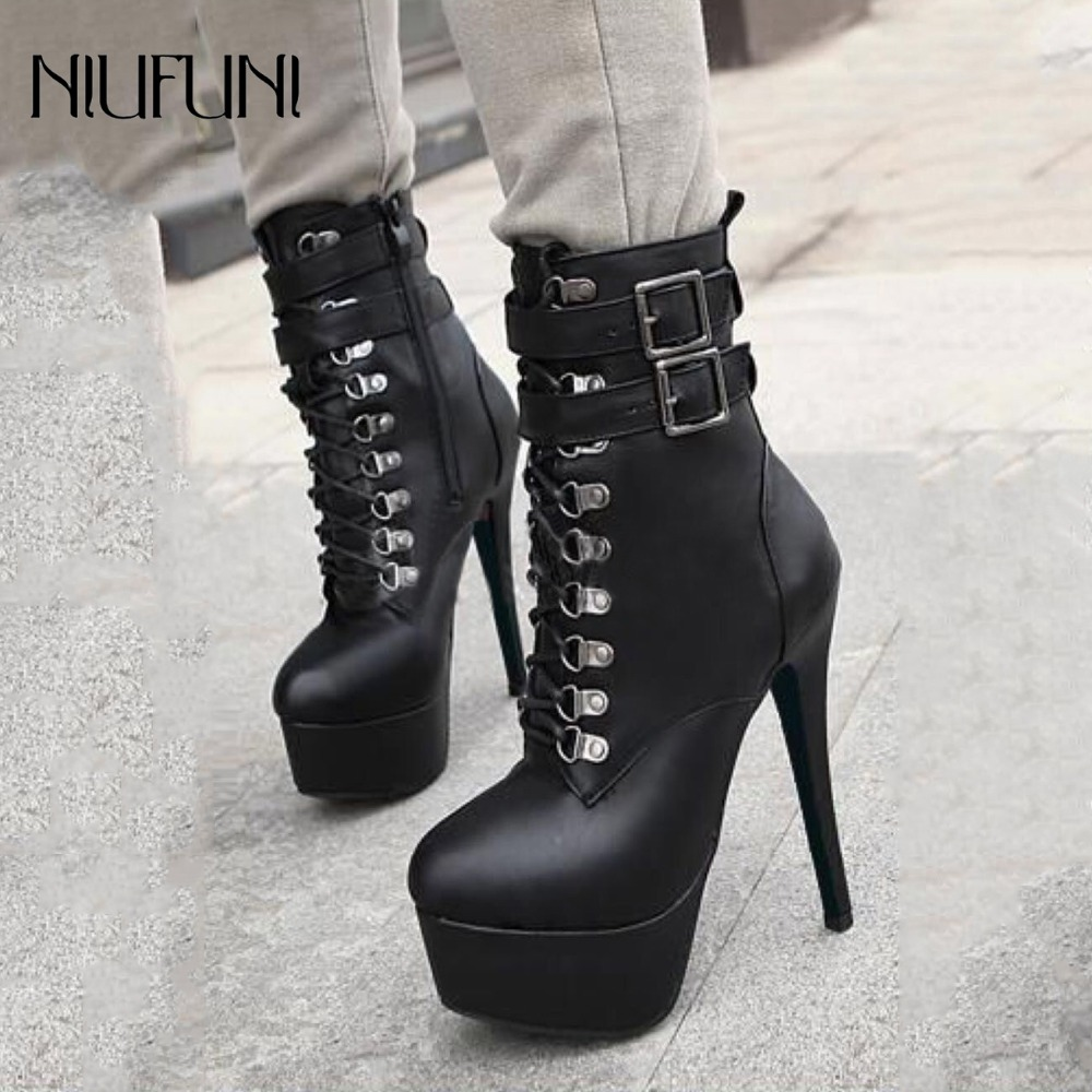 Womens Side Ziper Buckle Crystal Ankle Boots Platform Pump Thick High Heels Shoe