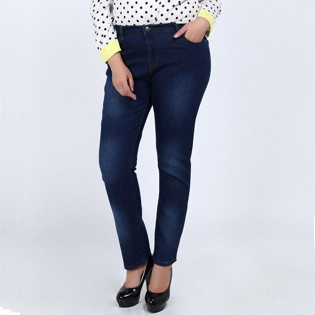 Женщины полная длина большие джинсы размер L-5XL жира хорошее качество синий цвет повседневный стиль джинсовые брюки зима осень жан брюки