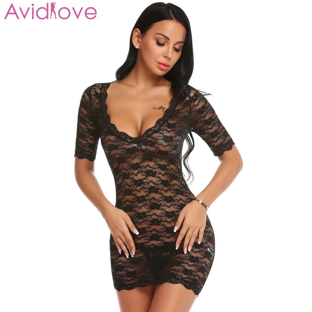 aea8fac6a1df Avidlove conjunto de ropa interior Sexy para mujer, disfraces eróticos  Lenceria, lencería Sexy, manga corta, encaje Floral transparente, Babydoll  con Tanga ...