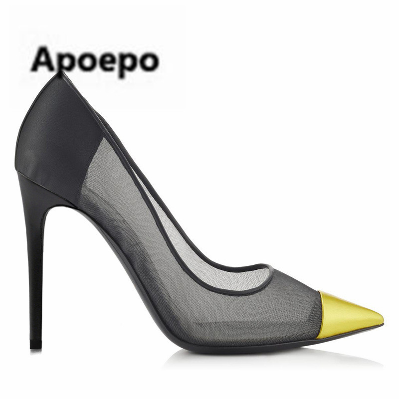 Apoepo sexy black lace pumps summer Breathable office ladies shoes colors pointed toe high heels pumps women stiletto thin heels summer 2017 office ladies basic thin high heels sandals comfortable shallow women shoes with pointed toe
