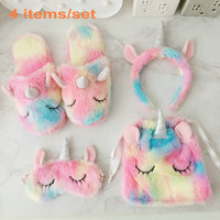 4pcs/set Fantastic rainbow plush unicorn toy Ice cream colourful unicorn horn party headband sleeping eye mask toys