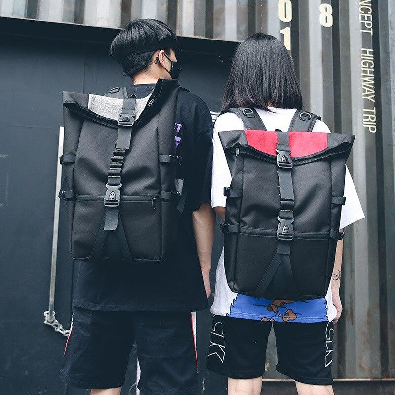 New Large Mens Black Waterproof Backpack Laptop School Bag Travel Zipper Bag