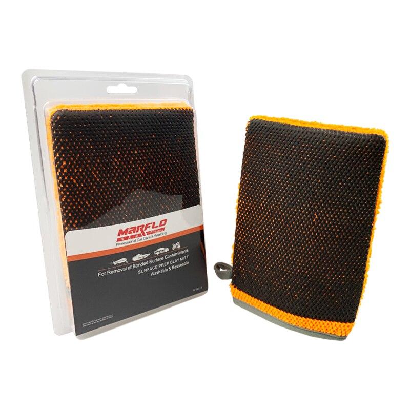 Marflo Car Washing Magic Clay Mitt Sponge Microfiber Glove With High Quality Clay Blue Red Orange