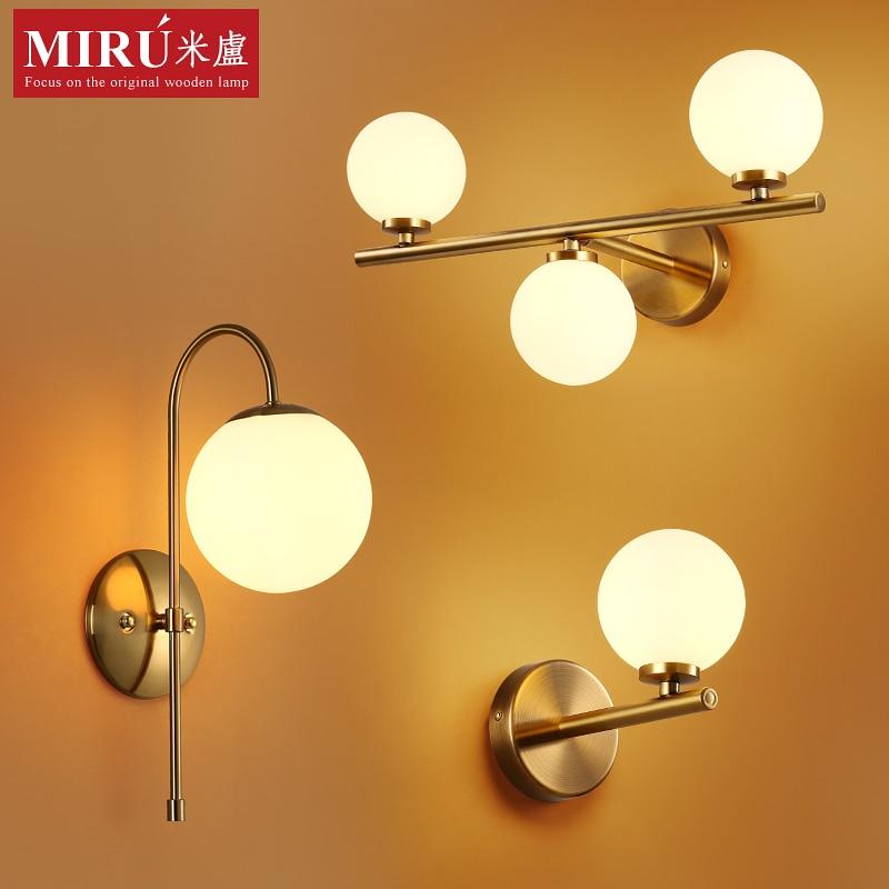 Modern Nordic Wall Lamp Acrylic Round Glass Ball Mounted Light LED Indoor Lighting for Restaurant Living Room Bedroom Corridor