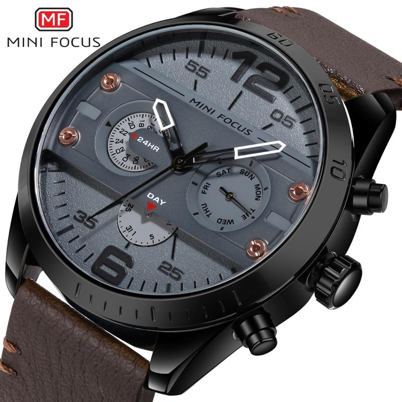 MINI FOCUS Brand Men's Fashion Sport Quartz Watch Male Clock Leather Belt Waterproof Watch men Digital Relogio Masculino