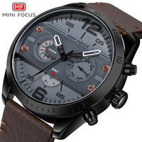 MINI FOCUS Brand Men's Fashion Sport Quartz Watch Male Clock Leather Belt Waterproof Watch men Digital Relogio Masculino