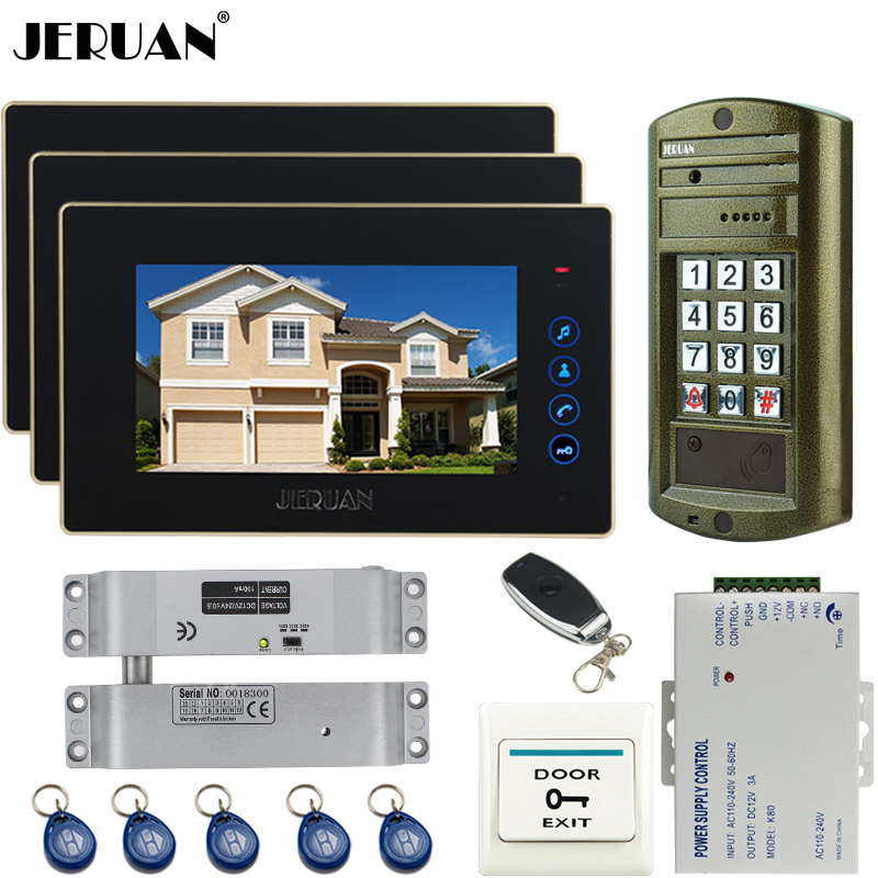JERUAN  7 inch TOUCH KEY Video Door Phone Doorbell Intercom system kit 2 Monitor +NEW Metal waterproof Access HD Mini Camera 1V2 jeruan new 7 inch touch key color video intercom entry door phone system rfid access doorbell camera 1 monitor in stock
