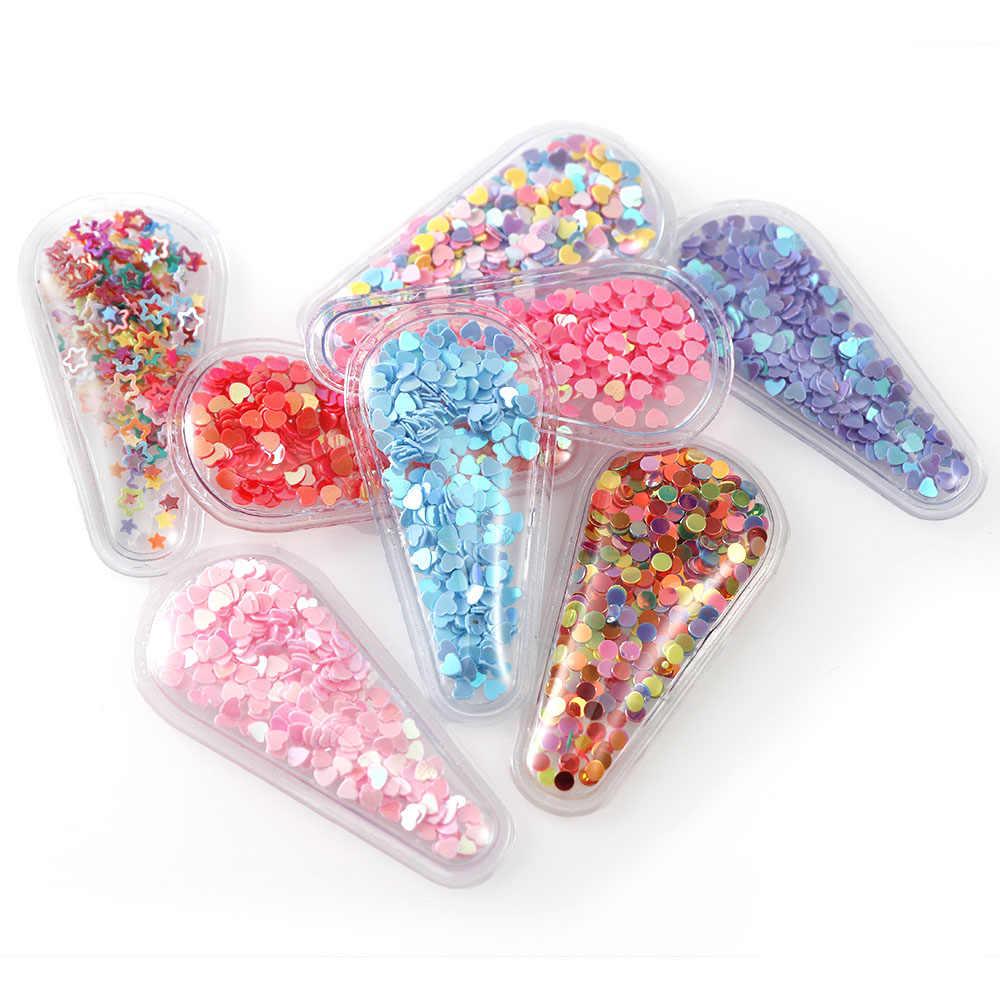 10 unids/set gotas de agua mezcla de Color transparente Bling flujo parches corazón apliques niños niña Clip DIY pelo Clip venta al por mayor