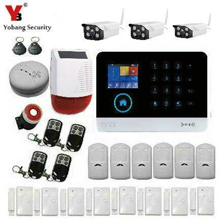 YoBang sécurité sans fil WIFI GSM GPRS APP contrôle système d'alarme de sécurité à domicile contrôlé caméra vidéo extérieure capteur d'incendie de fumée