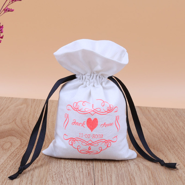 50 white personalized drawstring pouches custom white cotton bags logo name printed product packaging bags pouches chic wedding favor bags