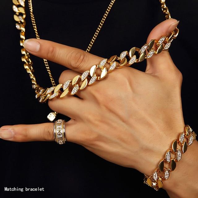 Купить мужские преувеличенные золотые кубинские звенья майами блестящие