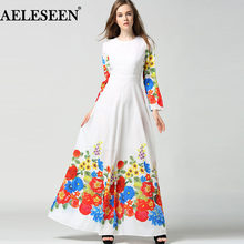 Elegant Boho White Long Dresses White Full Sleeve Floral Print 2018 Women Muslim High Quality Fashion Summer Women Maxi Dress(China)