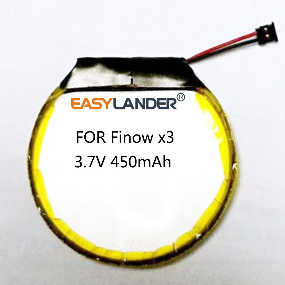 <font><b>3.7V</b></font> <font><b>450mAh</b></font> Rechargeable li Polymer Round battery For Smart watch Finow x3 image