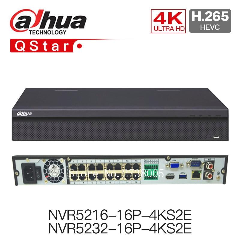 Dahua 4K NVR NVR5216-16P-4KS2E 16CH with 16 poe NVR5232-16p-4KS2E 32ch with 16 PoE ports 1-8 PoE Ports Support 800m ePoE & EoC dahua 32ch nvr 16 poe 2u case 8 sata 1080p 200mbps gigabit rj45 android ios