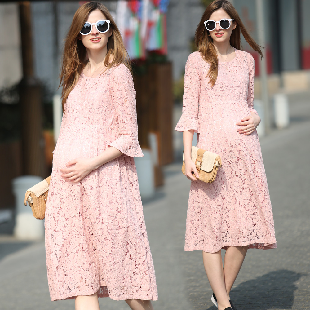 2018 New Europe Style Fashion Spring Summer Maternity Boat O Neck Half Sleeve Hollow Out Lace Pregnant Beauty Long Dress 2017 new spring women maternity t shirt