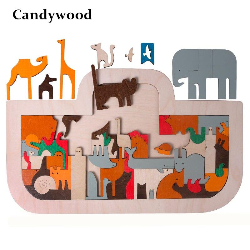 Candywood nouveauté enfants jouets en bois grand 50*30 CM arche de noé Puzzles ART dans les jouets enfants début d'apprentissage Puzzle jouets