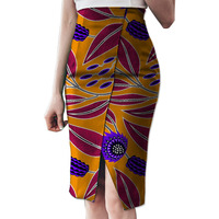 Fashion Side Slit Tailoring African Skirt Womens Colorful African Print Element Dashiki Clothing Tailor Custom For