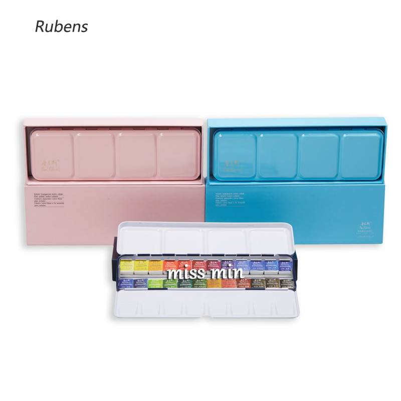 Rubens Solid Watercolor Pigments Set Fresh Portable Iron Box Watercolor Pigments 12 Colors 24 Colors 48 ColorsRubens Solid Watercolor Pigments Set Fresh Portable Iron Box Watercolor Pigments 12 Colors 24 Colors 48 Colors