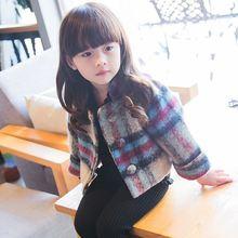 Hot 2019 Spring Fall New Girls Short Woolen Coat Korean Quilted Lattice Outerwear Baby Kids Cute Overcoat Childrens Jacket X234