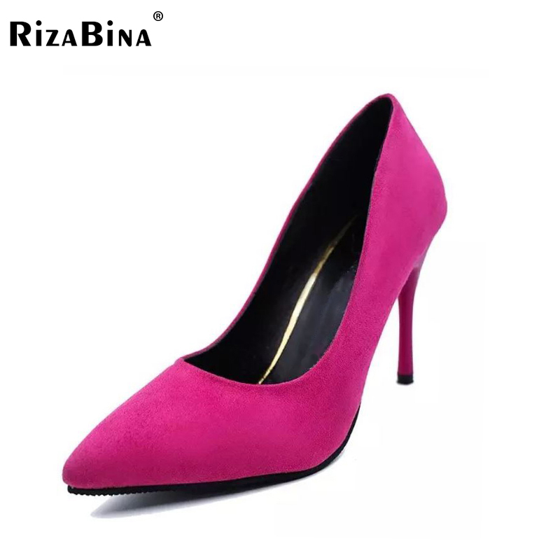 RizaBina brand women high heel shoes comfortable pointed toe fashion women pumps elegant dress footwear shoes size 34-39 WD0019 new 2017 spring summer women shoes pointed toe high quality brand fashion womens flats ladies plus size 41 sweet flock t179
